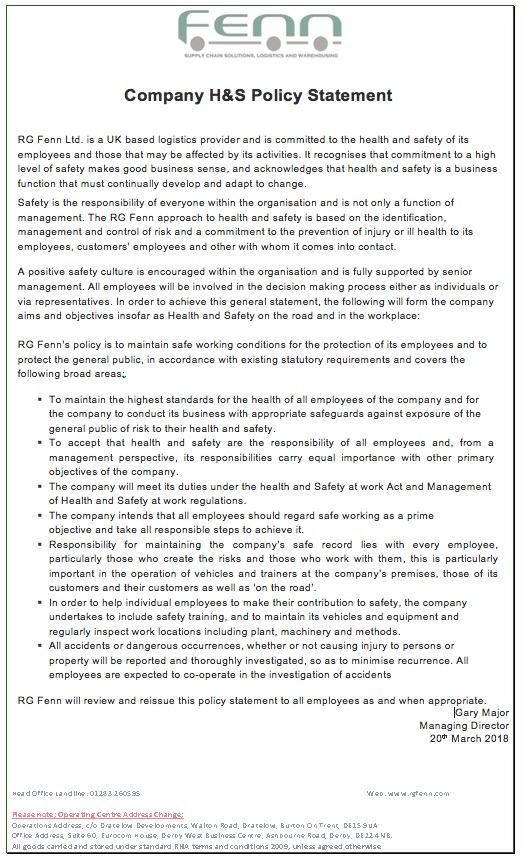 Company HS Policy FTV002